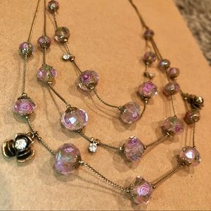 BETSEY JOHNSON 3 Layer Floral Rhinestone Necklace